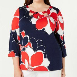 Alfred Dunner Women Petite In The Navy Print Top